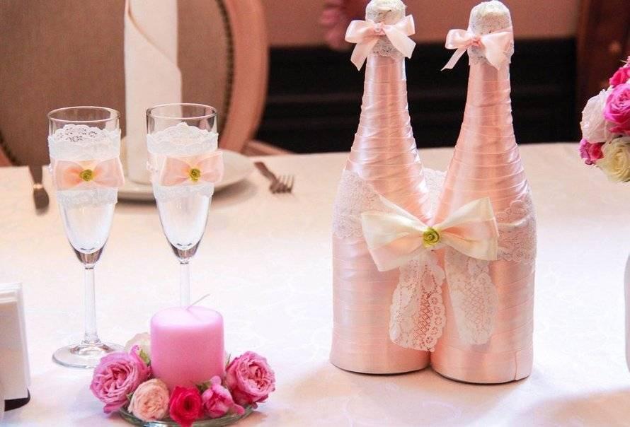 Украшение шампанского на свадьбу своими руками, фото декора, одежды, бутылки