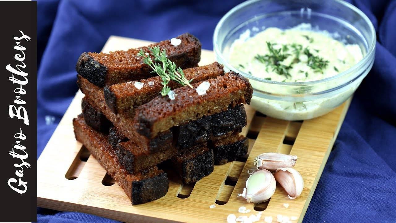 Рецепты гренок к пиву: с чесноком и чесночном чесночном соусе из черного хлеба как в баре