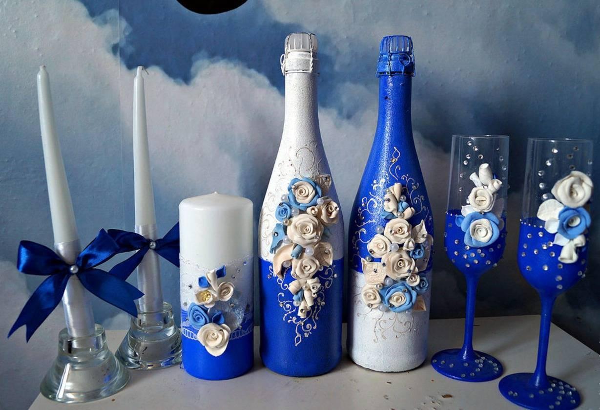 Украшение свадебных бутылок своими руками