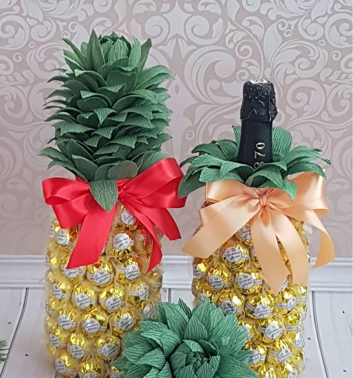 ᐉ ананас из бутылки. как сделать ананас из конфет и шампанского своими руками. как сделать ананас из фетра ✅ igrad.su