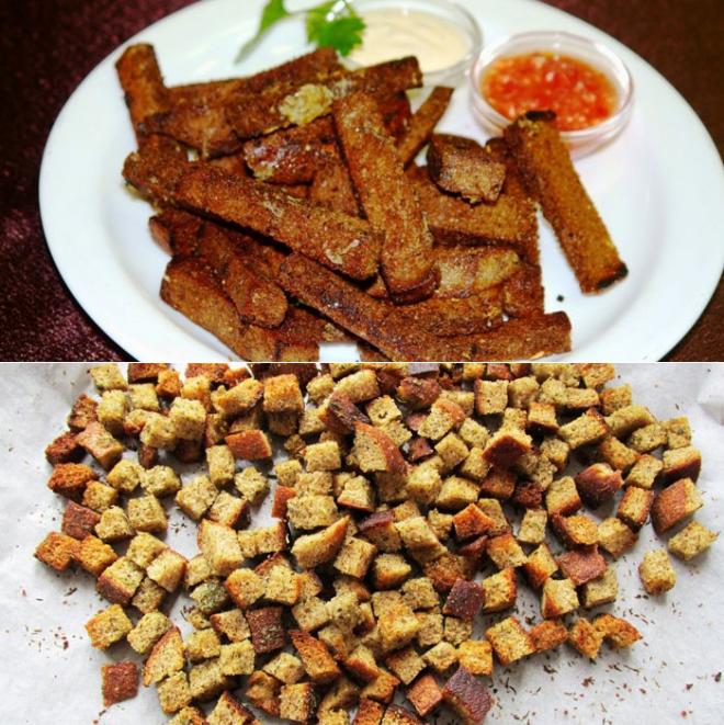 Сухарики из черного хлеба с чесноком - 15 пошаговых фото в рецепте