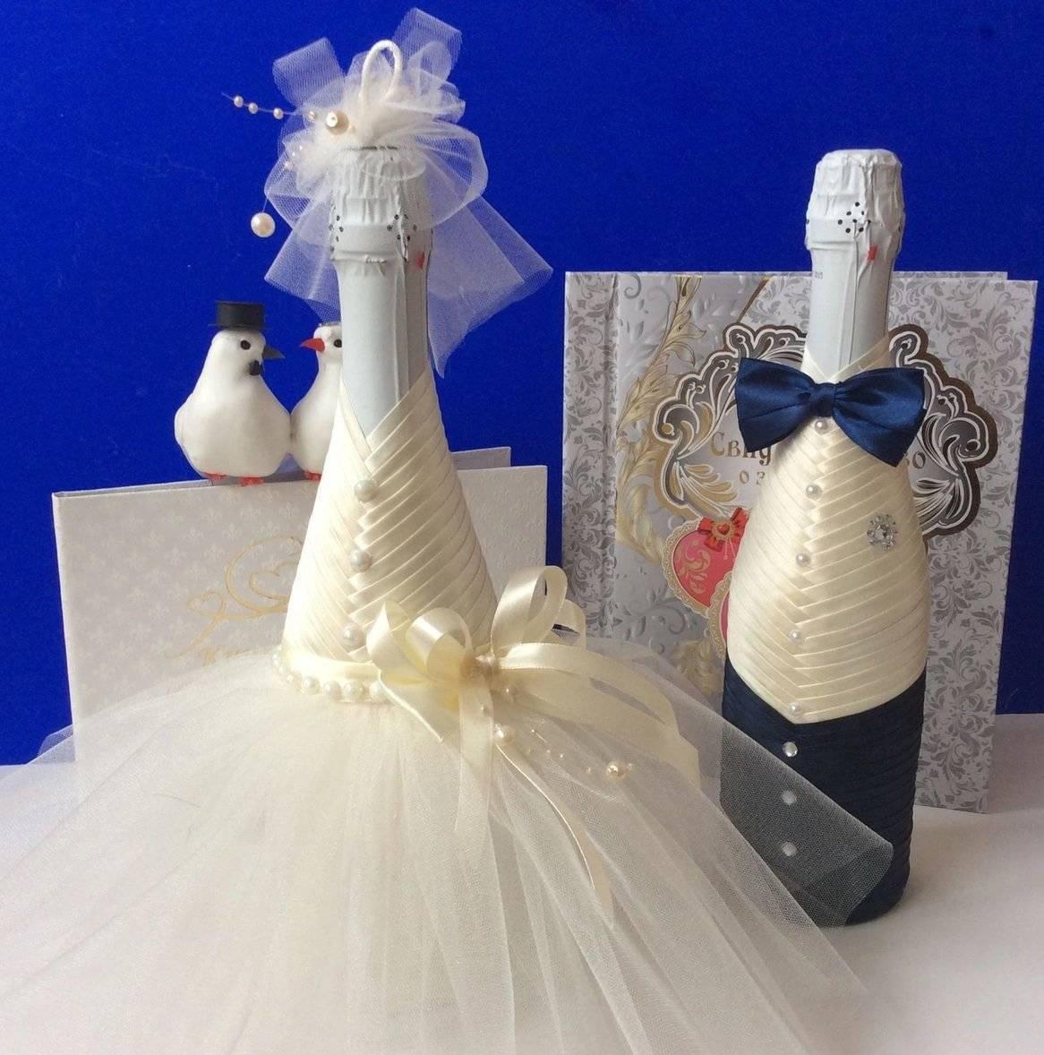 Техники украшения свадебных бутылок своими руками, интересные идеи для новичков