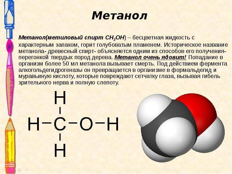 Как отличить метиловый от этилового спирта? формула спирта