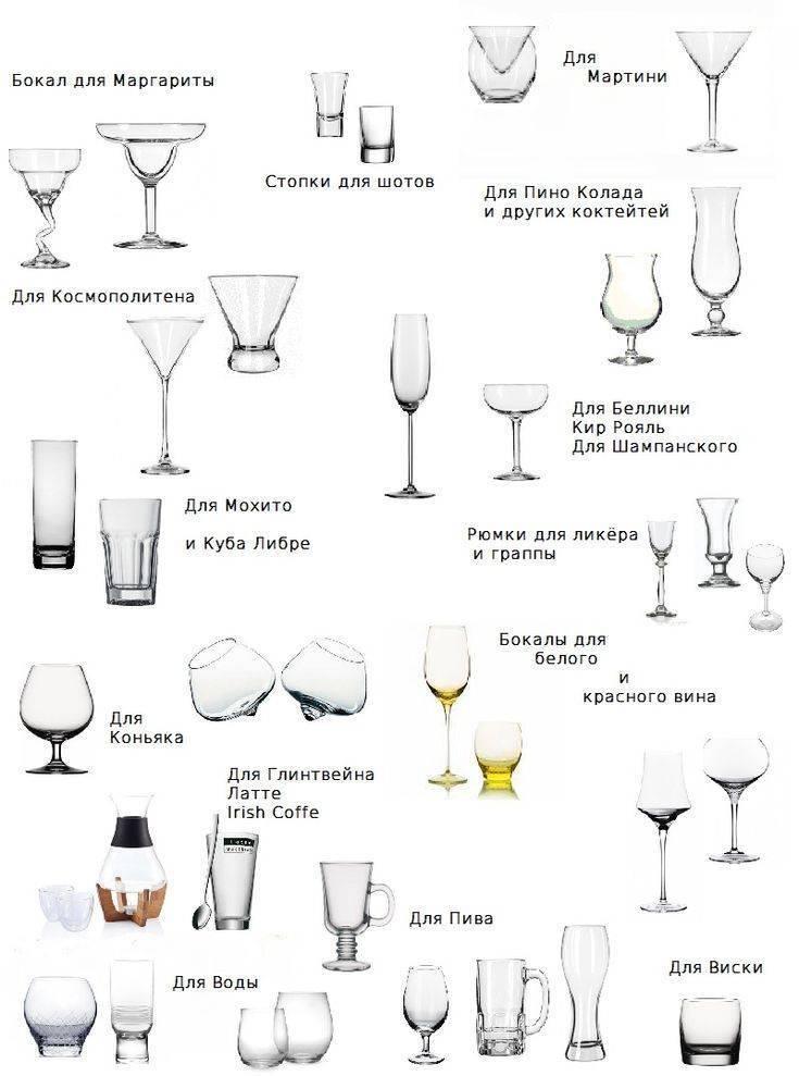 Виды и разновидности бокалов, их правильное применение