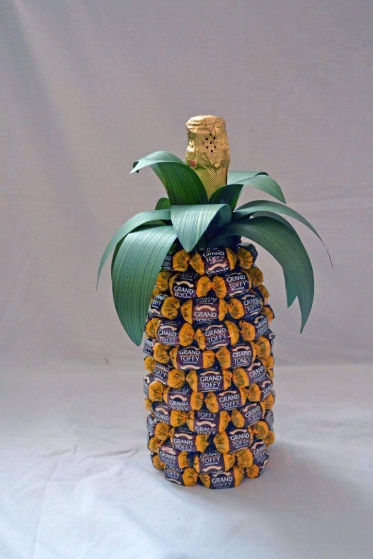Ананас из конфет и шампанского или мандаринов: пошаговые мастер-классы с фото и видео | праздник для всех