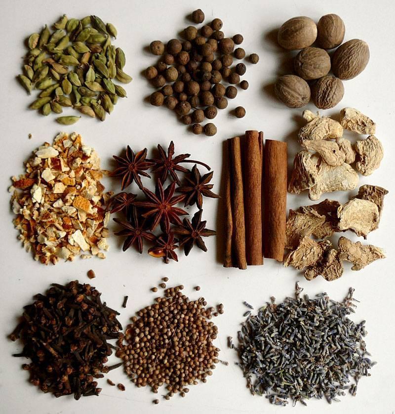 5 самых важных специй для глинтвейна - набор традиционных пряностей  и приправ