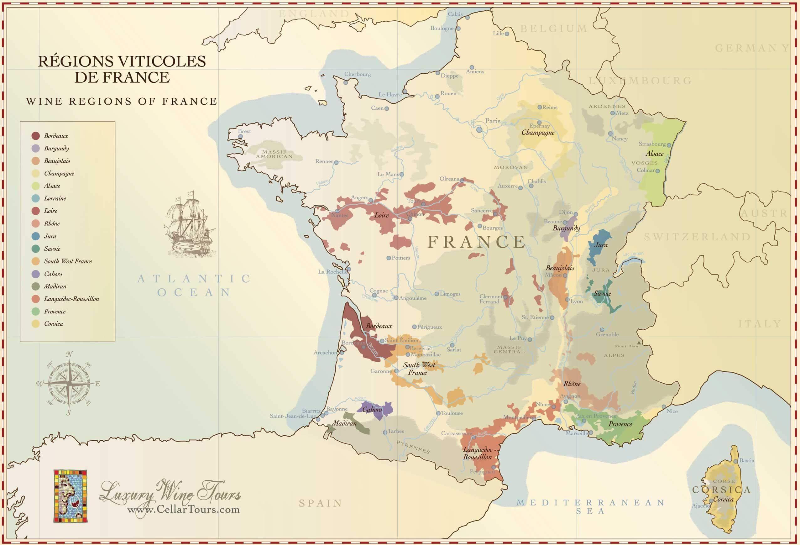 Французские вина: виды французского вина по регионам: бордо, бургундия