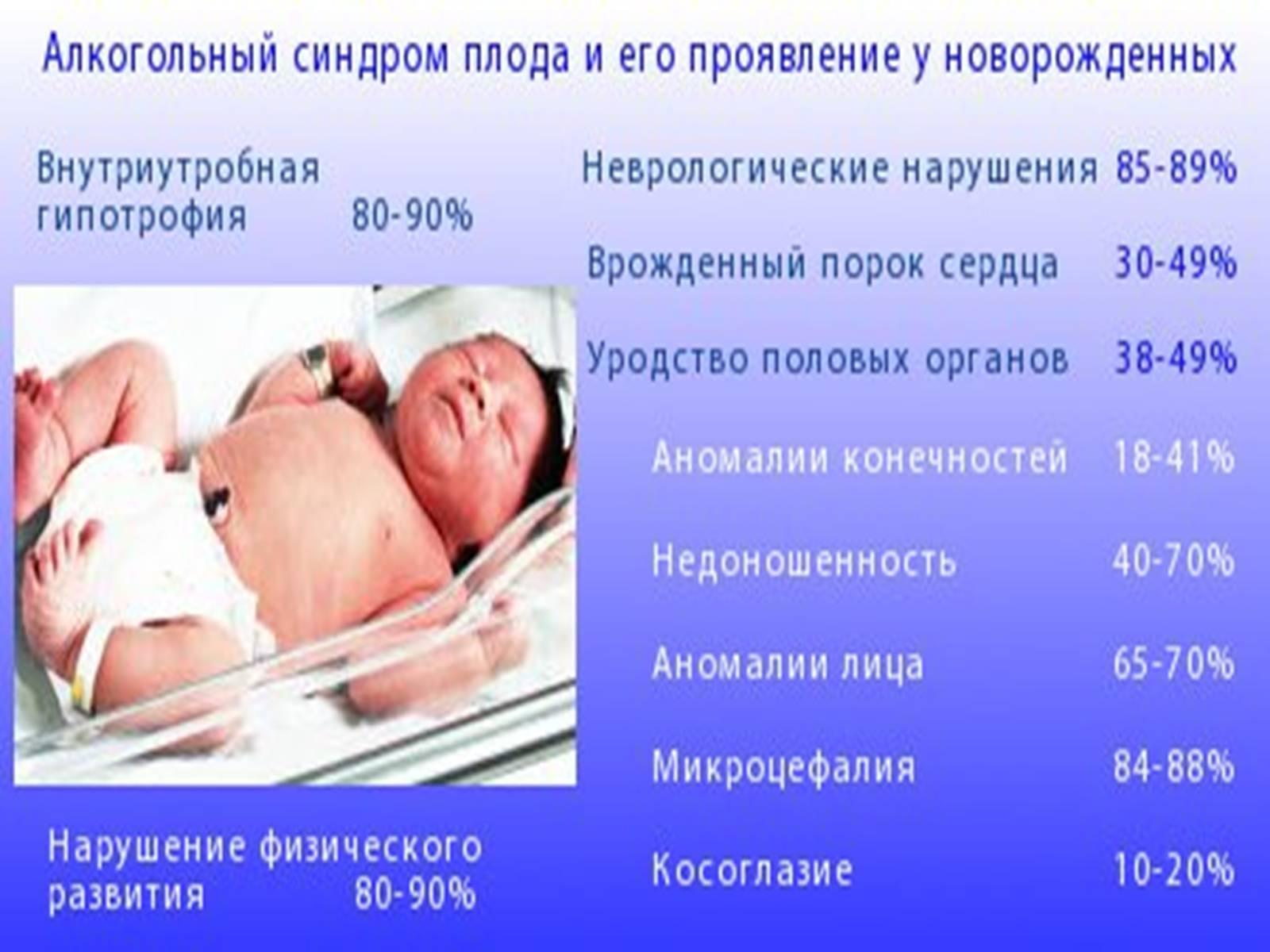 Влияние алкоголя на эмбриональное развитие ребенка