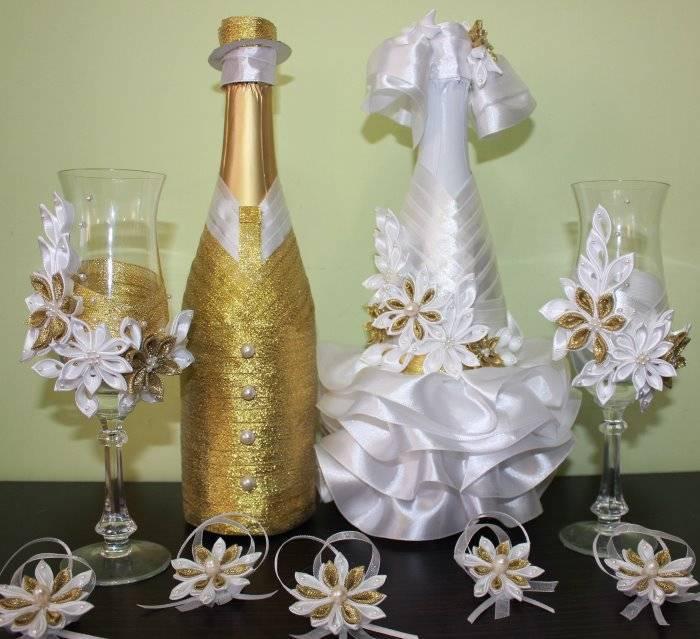 Украсить бутылки шампанского на свадьбу своими руками - варианты