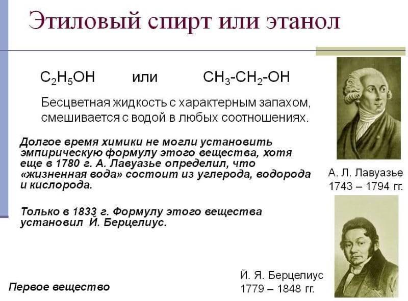 Формула спирта питьевого, производство и применение
