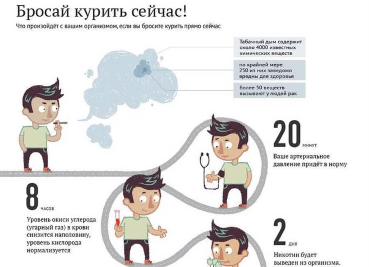 Что будет, если бросить курить, как реагирует организм: таблица изменений