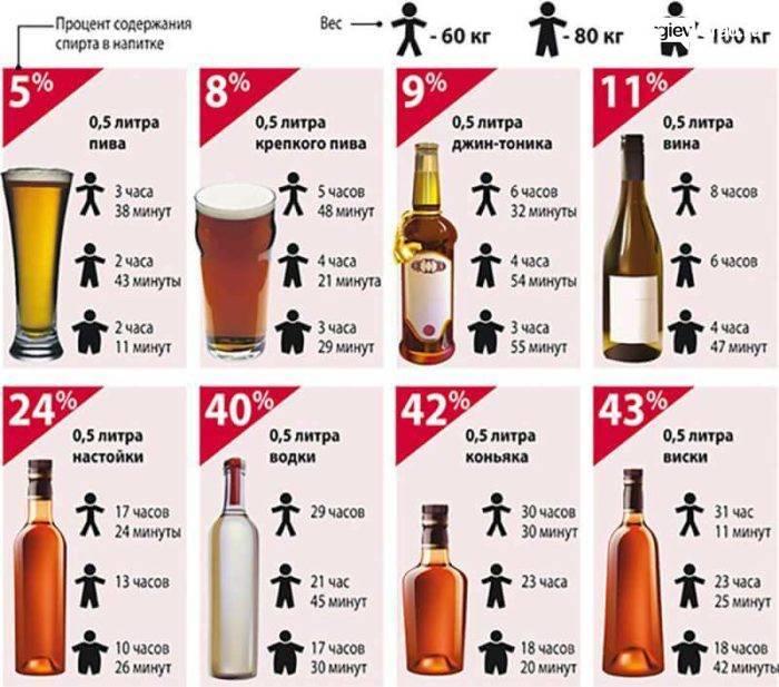 Таблицы вывода алкоголя и организма для мужчин, женщин; алкоголь в организме водителя