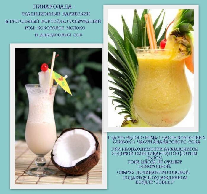 Алкогольная пина колада — 7 быстрых рецептов