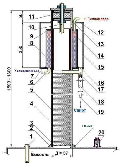 Как сделать дефлегматор для самогонного аппарата своими руками: схема, чертеж, фото и видео инструкция