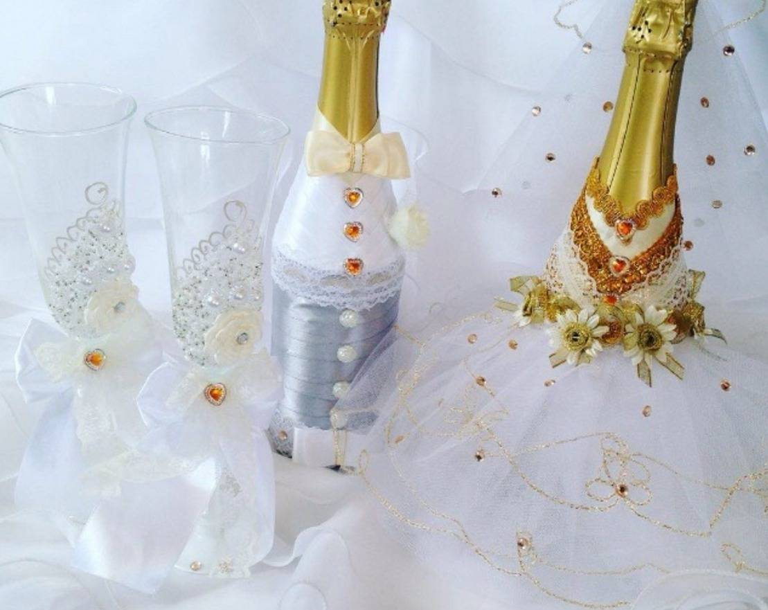 Как украсить свадебное шампанское своими руками лентами: мастер класс, идеи, фото – zатусим!