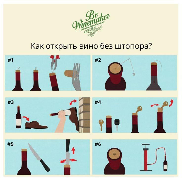 Как открыть бутылку вина без штопора: различные способы по ситуации