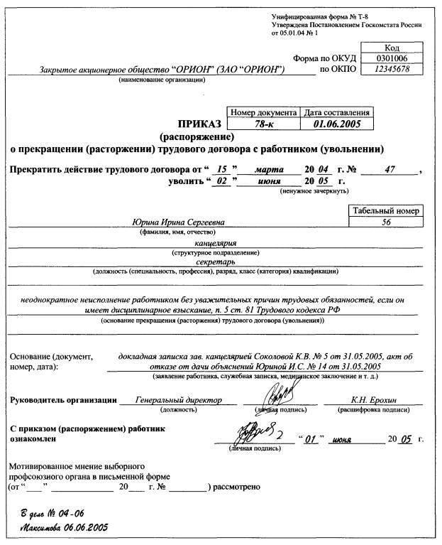 Увольнение по статье за пьянство: пошаговая процедура и запись в трудовой книжке