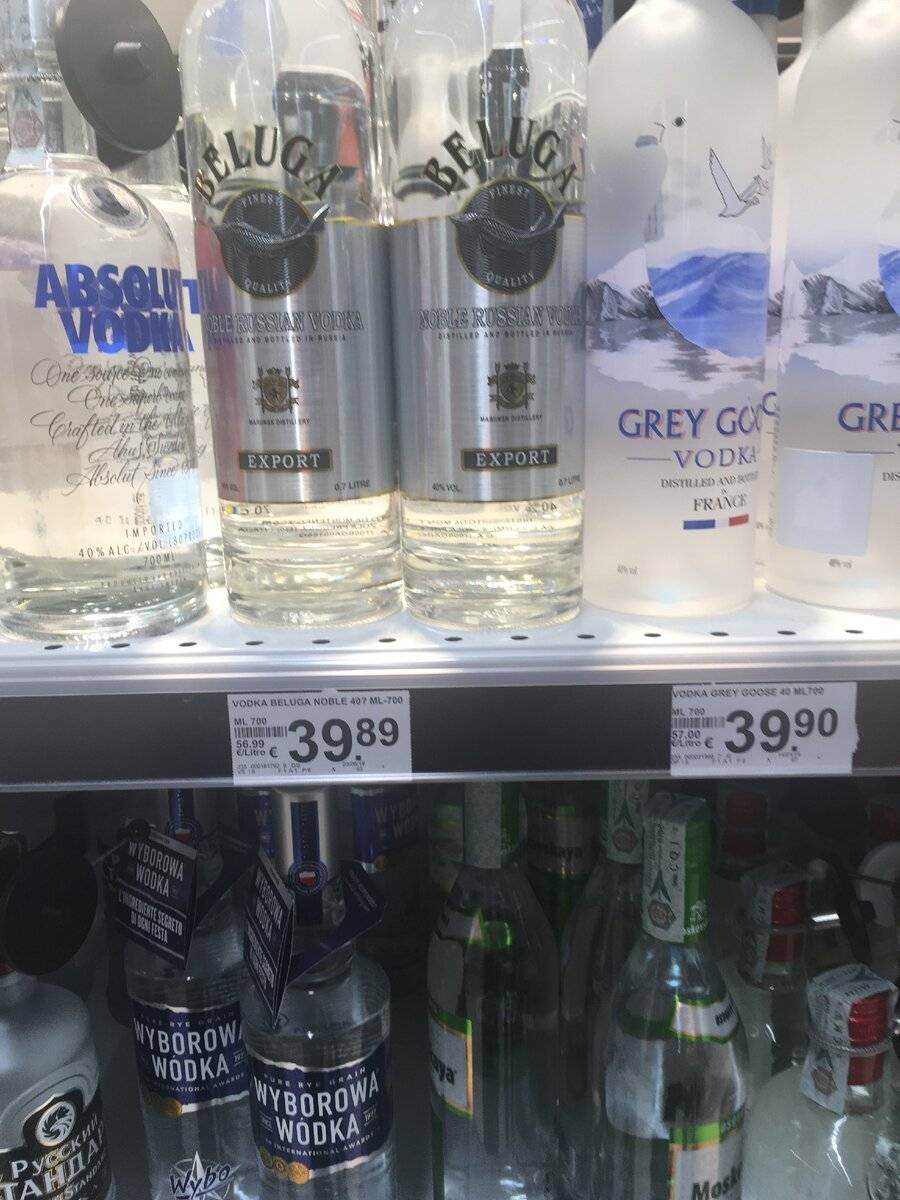 Цены на алкоголь