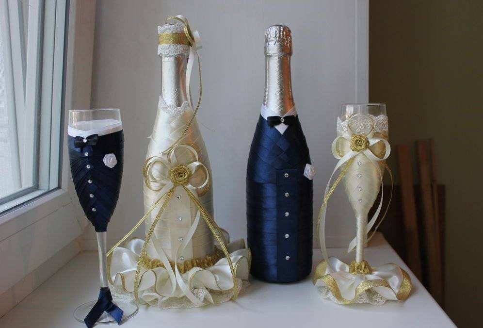 Романтичное украшение бутылок на свадьбу своими руками: лучшие идеи и мастер-класс