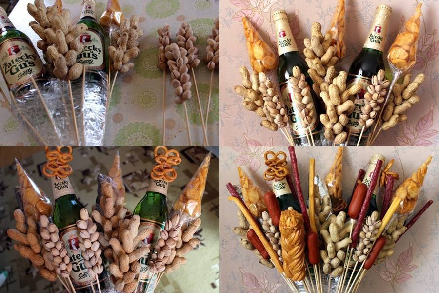 Мужские букеты из продуктов: как сделать съедобный подарок своими руками
