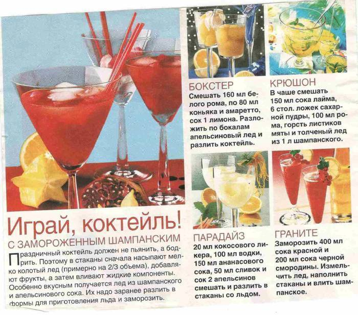 Коктейли с шампанским на праздничный стол на поварёнок.ру