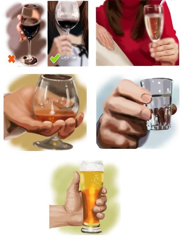 Как правильно держать бокал с вином: фужер с шампанским, коньяком девушке по этикету