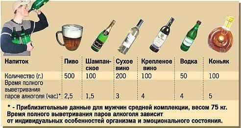 Через сколько выветривается пиво