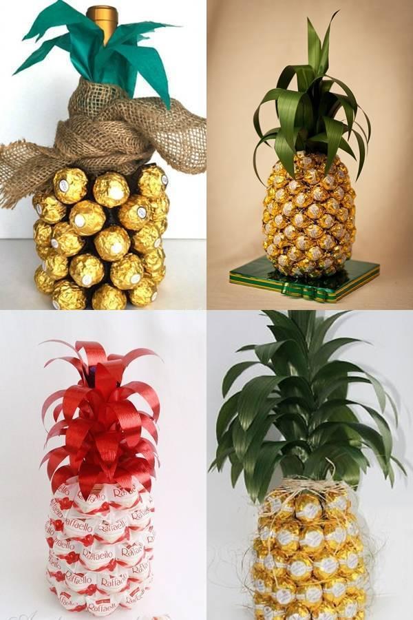 Как сделать ананас из шампанского и конфет своими руками,ананас из бутылки шампанского и конфет и мк пошаговый