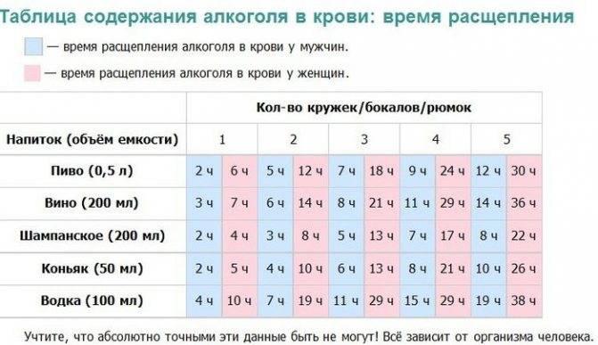 Таблица вывода алкоголя из организма водителей