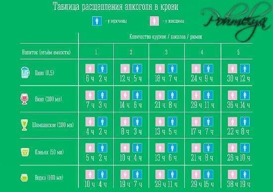 Таблица распада алкоголя в крови человека