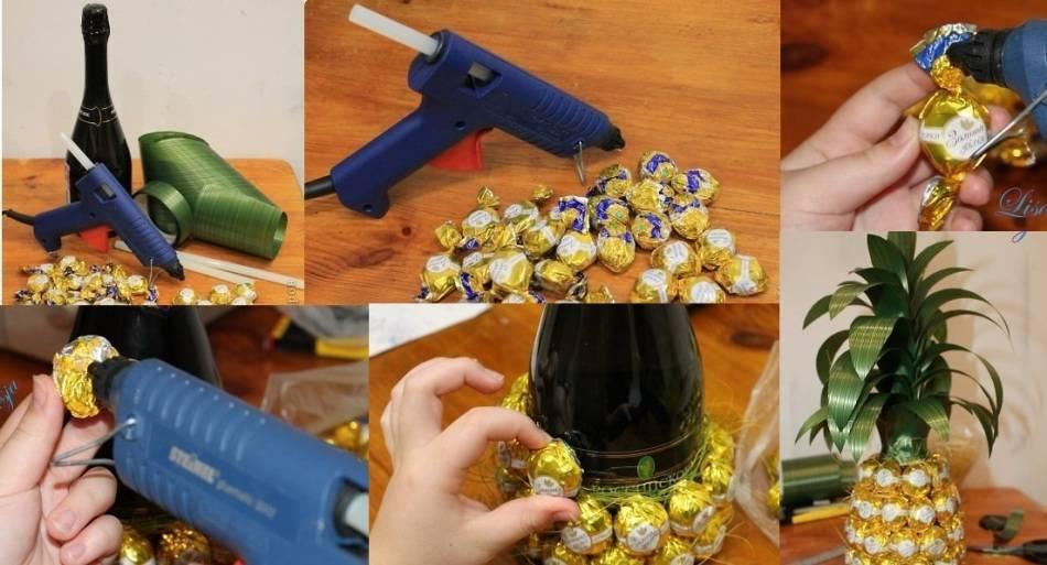 Ананас из конфет и шампанского своими руками: как сделать из бутылки пошагово. мастер класс для начинающих, фото, видео