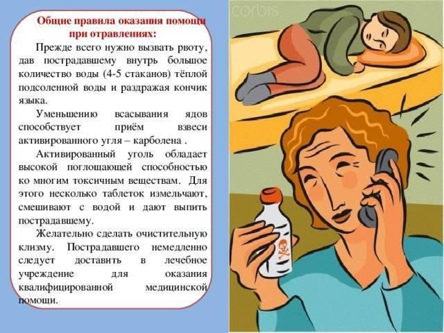 Первая помощь при разных видах отравлений
