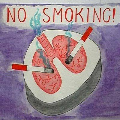 """Стенгазета плакат день защиты детей рисование и живопись """"курить-здоровью вредить """"=плакаты по зож  детские работы акварель бумага карандаш"""