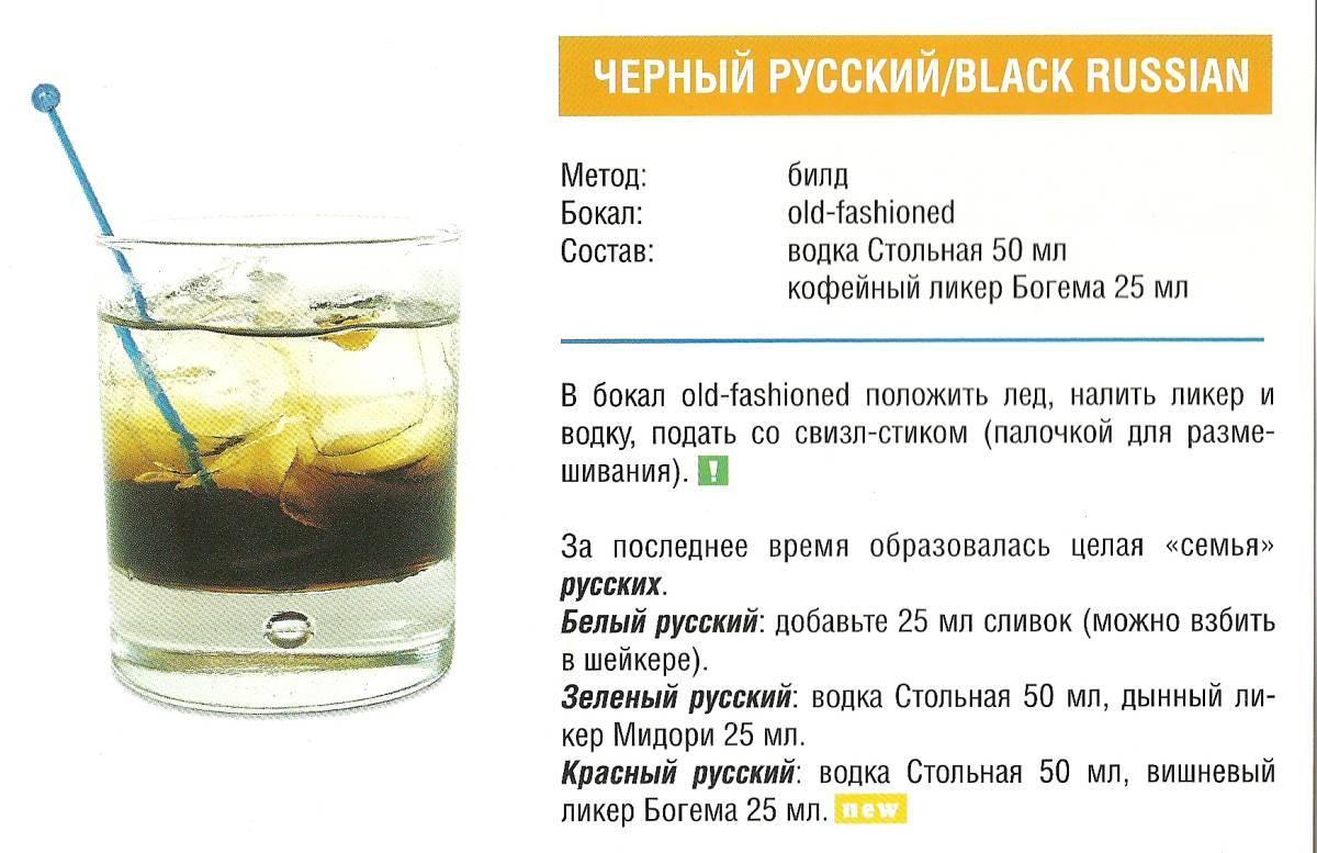 Черный русский коктейль: рецепт приготовления, состав