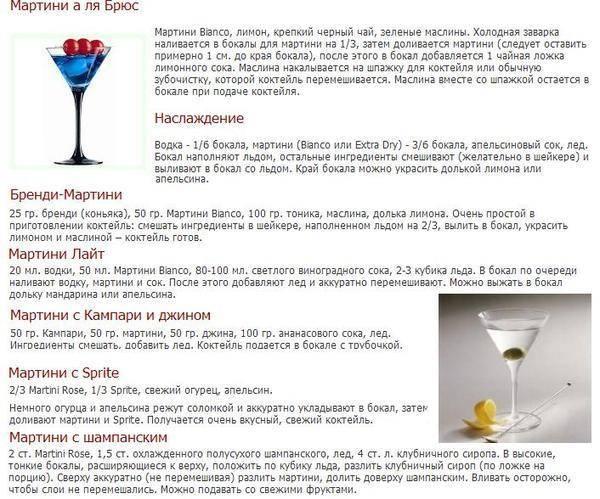 Коктейли с мартини в домашних условиях ⋆ рецепты домашнего алкоголя