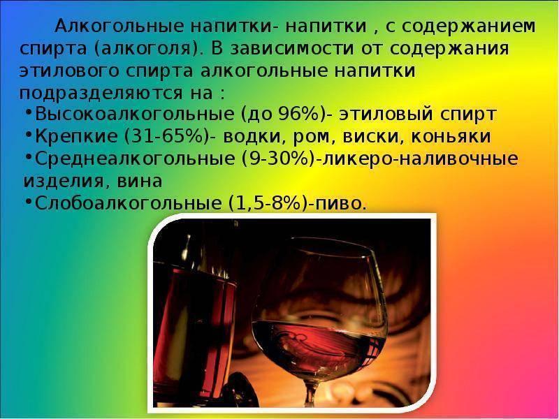 Алкогольные напитки: классификация, виды, особенности популярных спиртосодержащих напитков