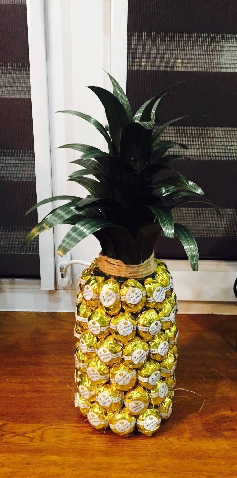 Как сделать ананас из шампанского и конфет — пошаговая инструкция по созданию поделки