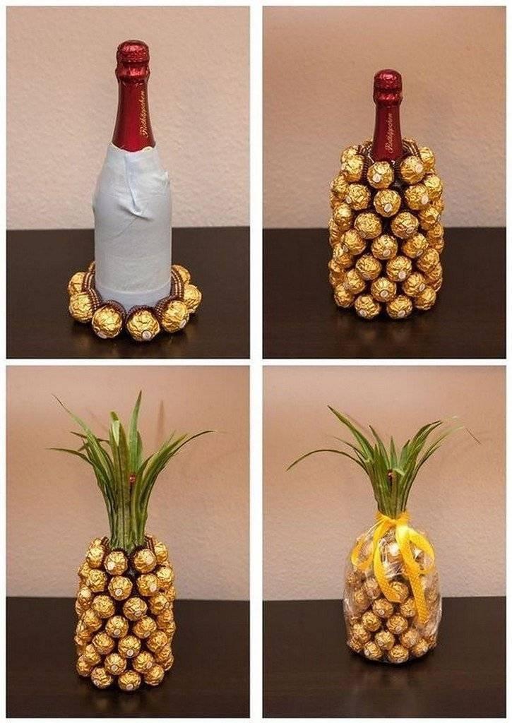 Мастер-класс изготовления ананаса из шампанского и конфет