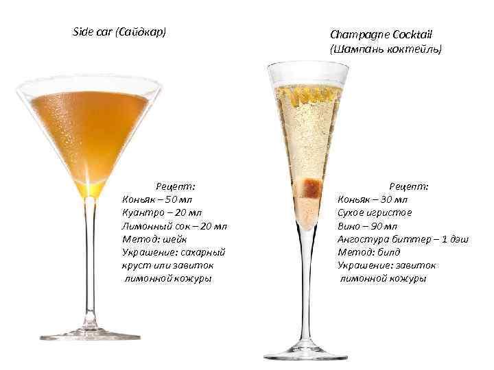 Коктейли с коньяком - рецепты в домашних условиях с колой, шампанским, соком и молоком