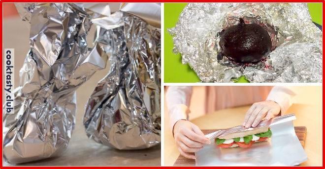 Как правильно положить фольгу на противень для приготовления мяса и овощей