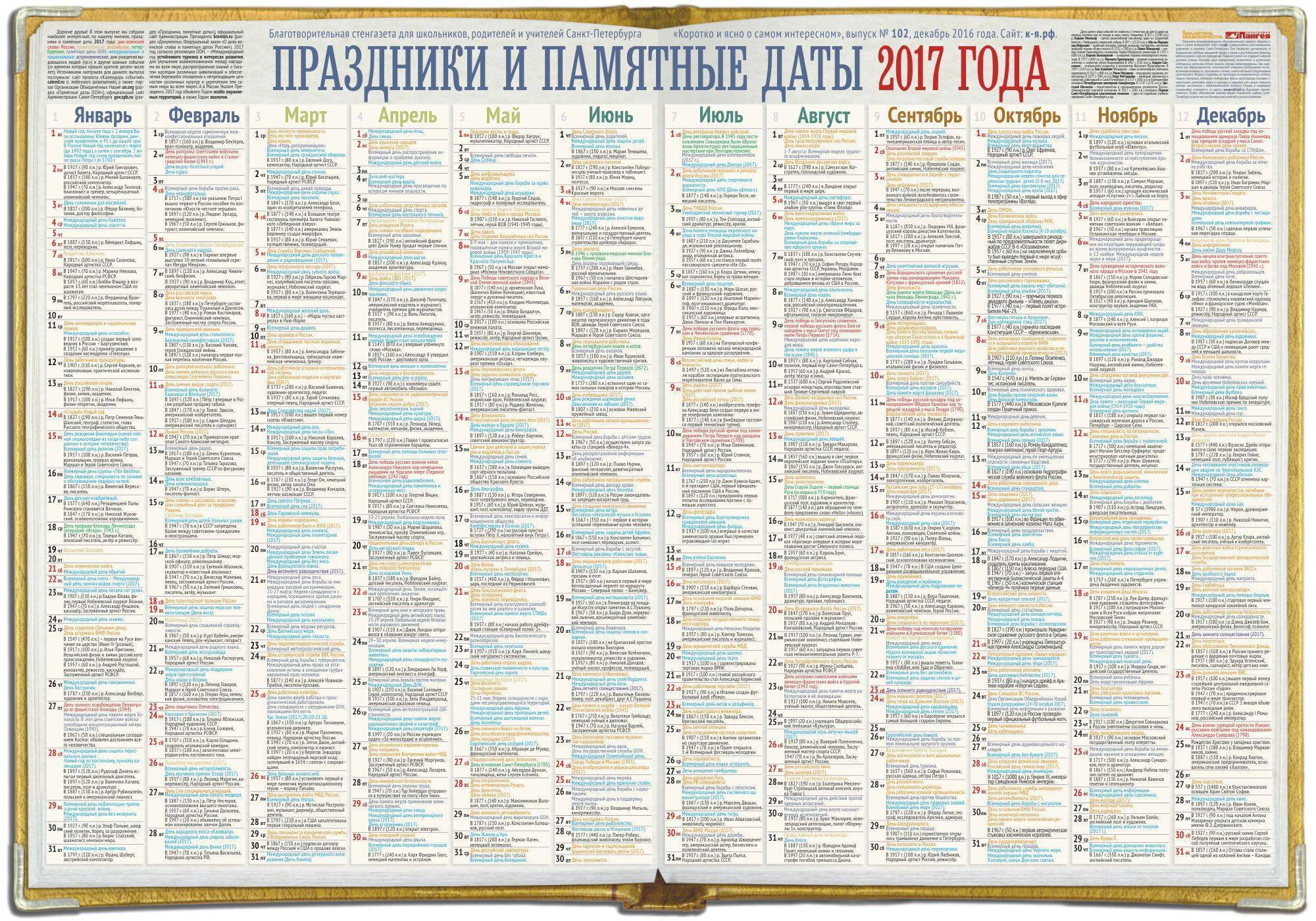 Календарь памятных и литературных дат на 2021 год