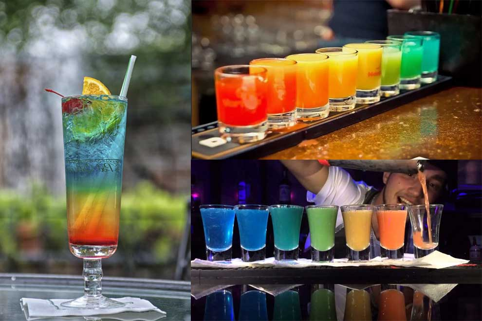 Безалкогольный коктейль «радуга»,слоеный коктейль