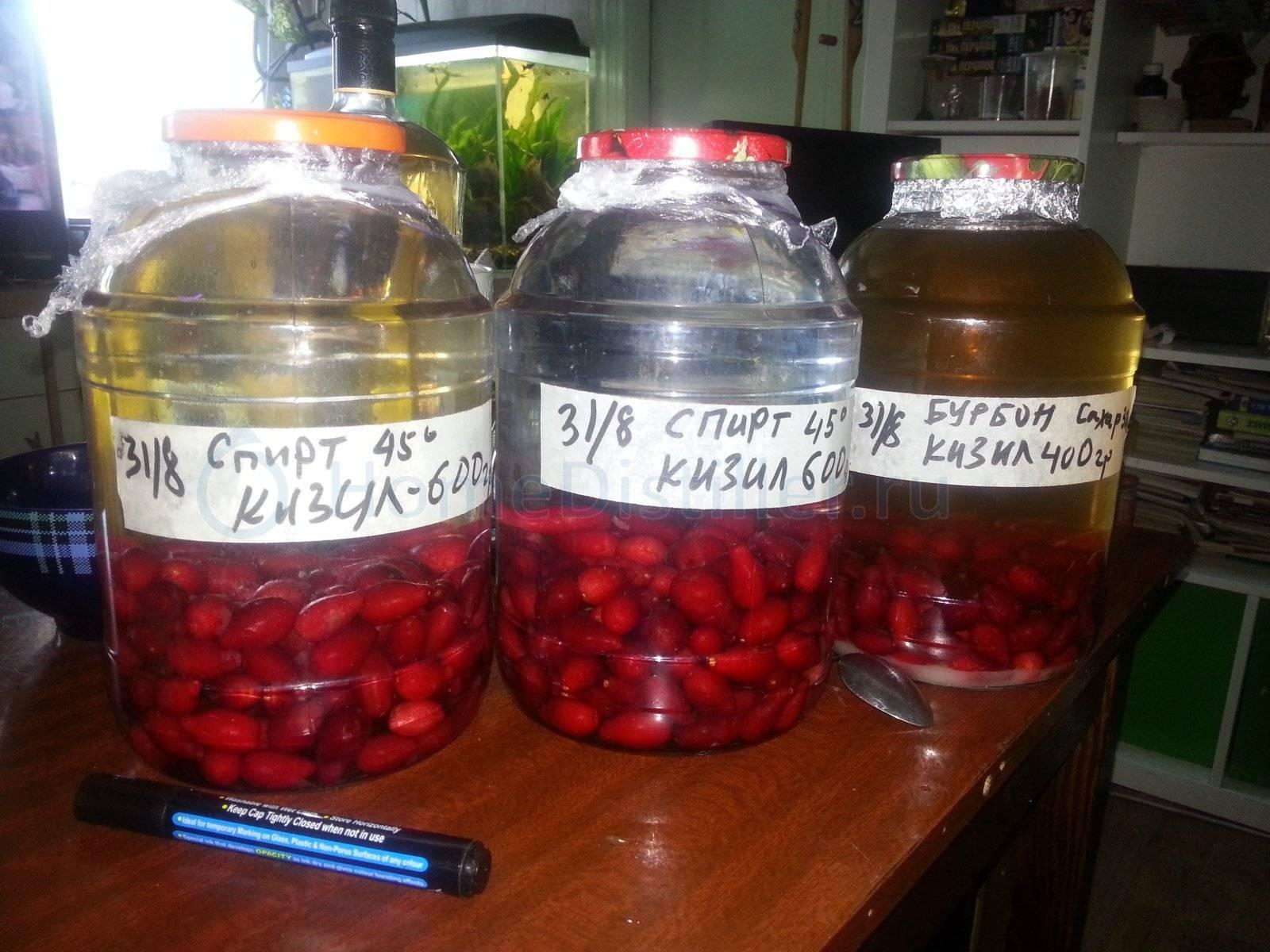 Кизиловая настойка: рецепт на самогоне, водке, коньяке