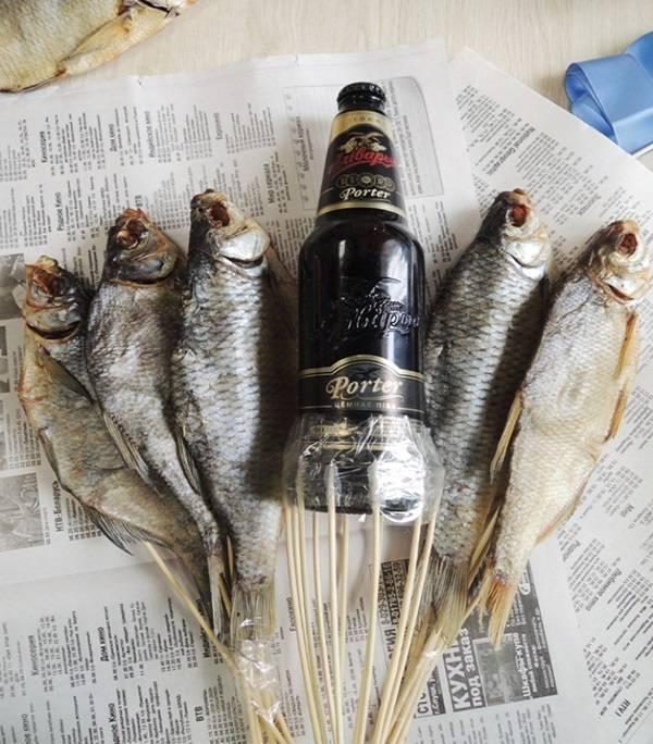 Мастер-класс, как сделать букет из пива и рыбы