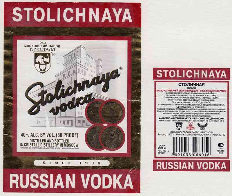 Водка столичная (stolichnaya) – история и виды легендарной марки