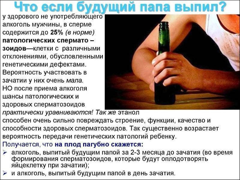 Алкоголь и зачатие: как спирт влияет на здоровье будущего ребенка, сколько нужно не пить перед беременностью мужчине и женщине