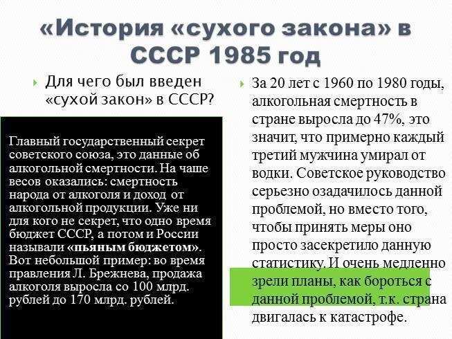 История «сухого закона» в ссср (1985 год)